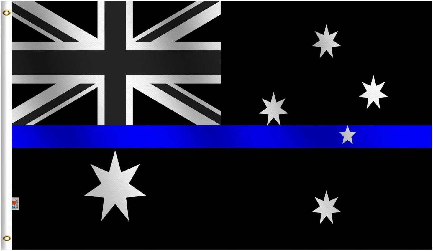 3x5 Foot Thin Blue Line Australia Flag,Screen Printed 100D Thick Polyester-Honoring Law Enforcement Officers Flags Blue Lives Matter Movement Banner 3 x 5