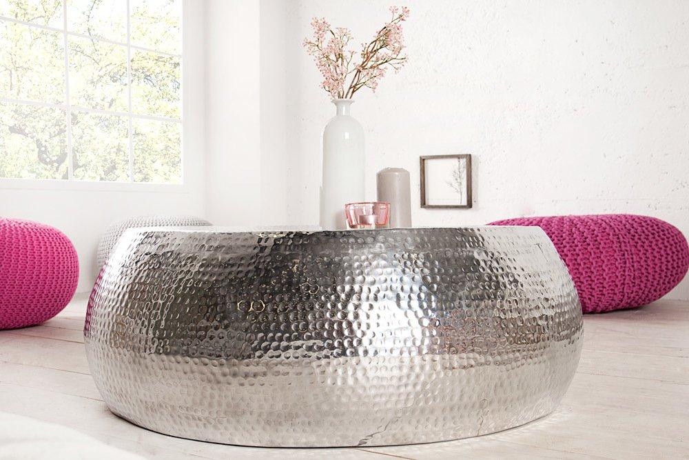 Design Couchtisch ORIENT 90cm Aluminium Silber Hammerschlag Optik Unikat Tisch Handarbeit Amazonde Kche Haushalt