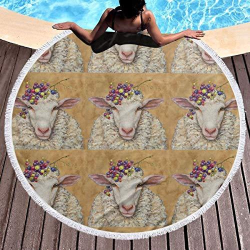 Sheep Tapestry - MDFHE Round Beach Towel Indian Mandala Yoga Mat Tapestry- Sheep Fruit Beach Towels 59 Inch Diameter