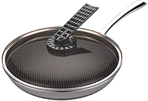 QPLKKMOI Nonstick Frying, Professional Stainless Steel Frying Pan, 28 Cm - With Tempered Glass Cover and Heat-Resistant Handle