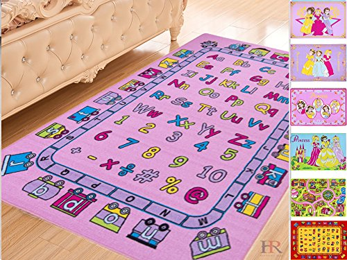 Handcraft Rugs Pink Kids Rugs/Educational/Play Time/Learning Numbers And Letters (ABCD. And 123.)