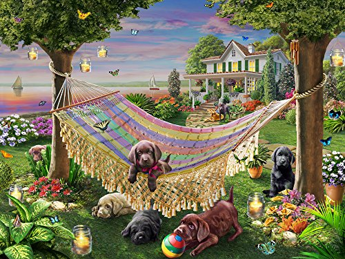 Vermont Christmas Company Puppies & Butterflies Jigsaw Puzzle 550 Piece