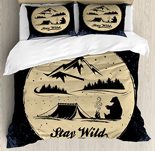 - Lunarable Camping Queen Size Duvet Cover Set, Bear Silhouette Resting on a Campfire in The Forest with Stay Wild, Decorative 3 Piece Bedding Set with 2 Pillow Shams, Dark Blue and Beige