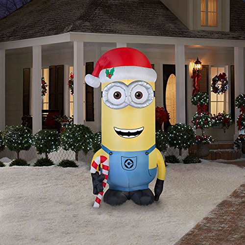 Gemmy Airblown Inflatable Kevin the Minion Holding a Candy Cane - Holiday Yard Decorations, 8-foot Tall