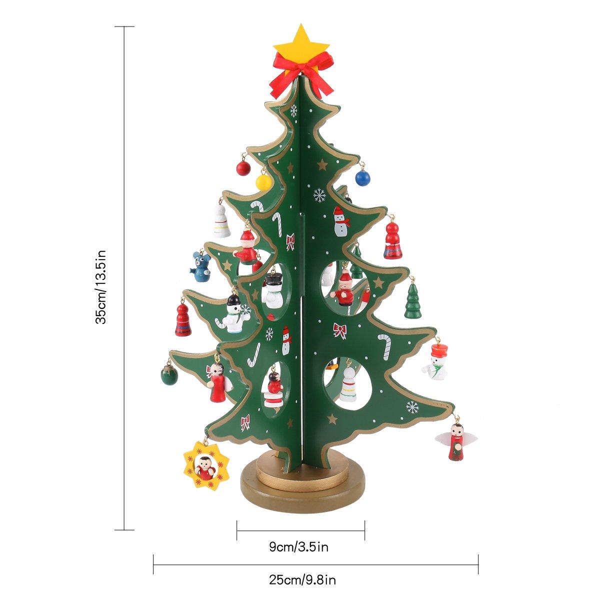 Amazon.com: Joyin Toy 14 inch Tabletop Mini Wooden Christmas Tree ...