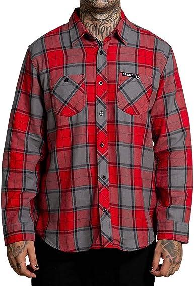 Sullen Clothing - Camisa de franela, color rojo y gris: Amazon.es: Ropa y accesorios