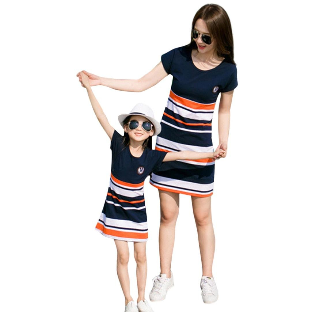 AutumnFall Family Clothes,Mom&Me Kids Baby Girls Striped Letter Print Short Sleeve Dress (Size:6T, Kids)