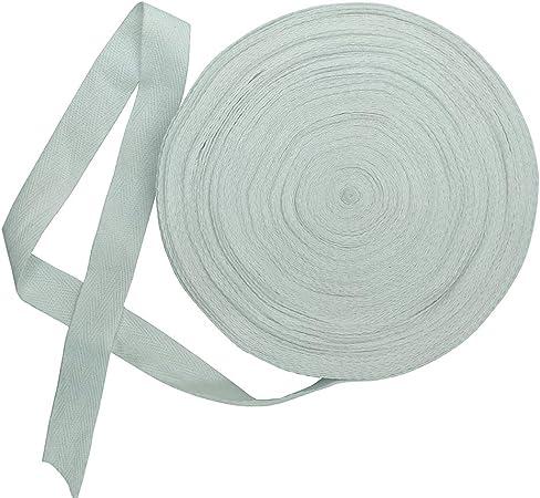 Cinta de sarga de algodón natural de 20 mm de ancho, 15 yardas, cinta al bies, cinta de espiga, rollo de cinta para delantales, costura, costura y manualidades (blanco, 4/5 pulgadas): Amazon.es: