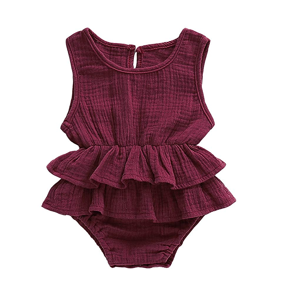 Lzxuan Newborn Infant Baby Girls Sleeveless Romper Linen Striped Jumpsuit Outfit Ruffles Playsuit
