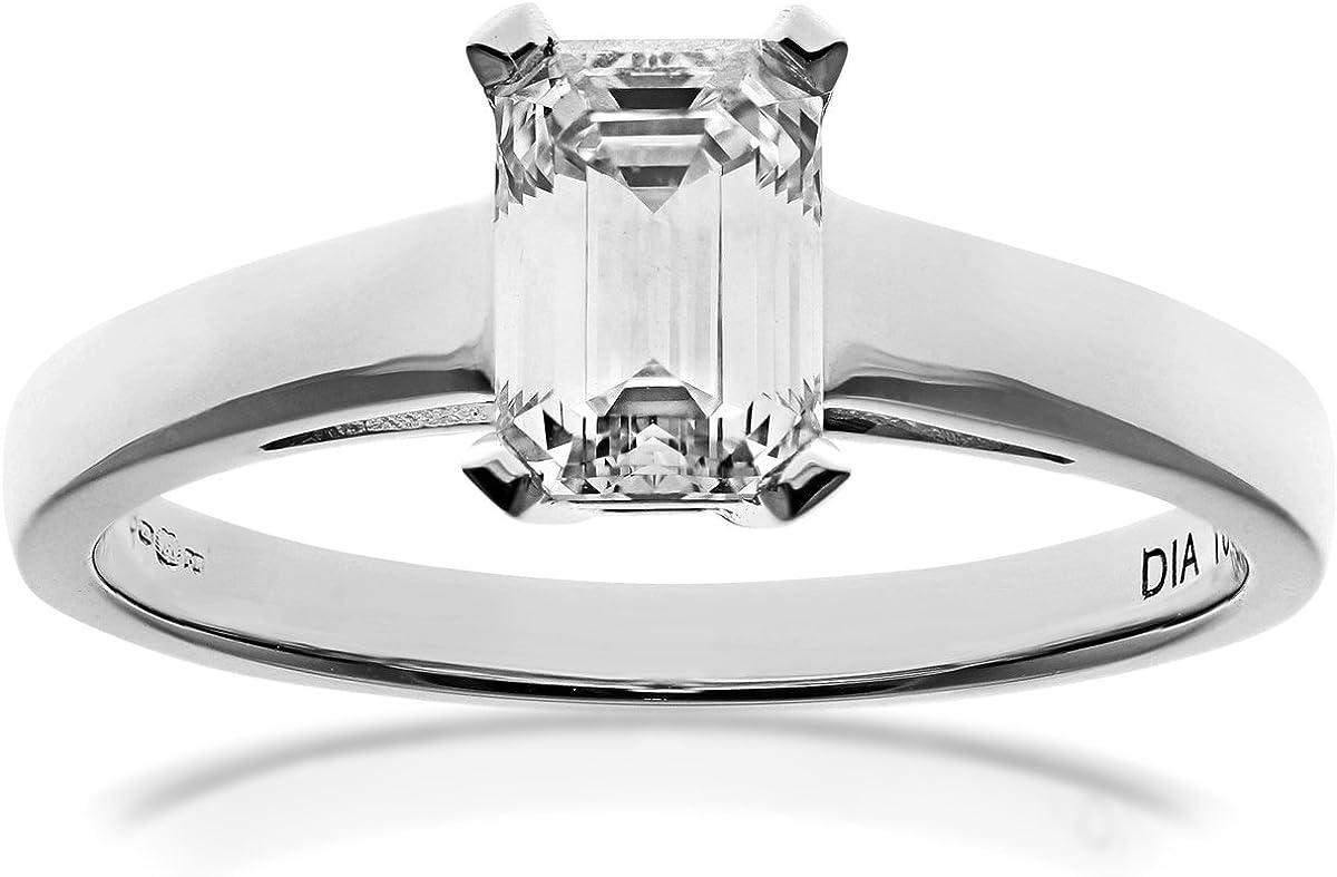 Naava Anillo para Mujer de Oro Blanco 18K con Diamante Talla 11