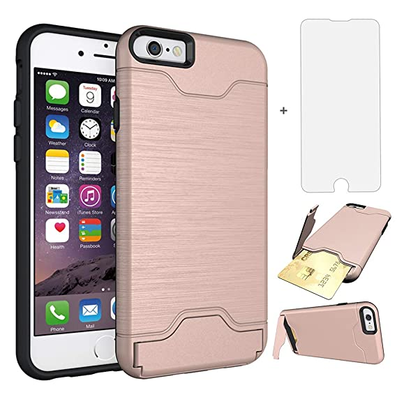iPhone 6 6s Six Case i Phone Cases Wallet with Tempered Glass Screen Protector Credit Card