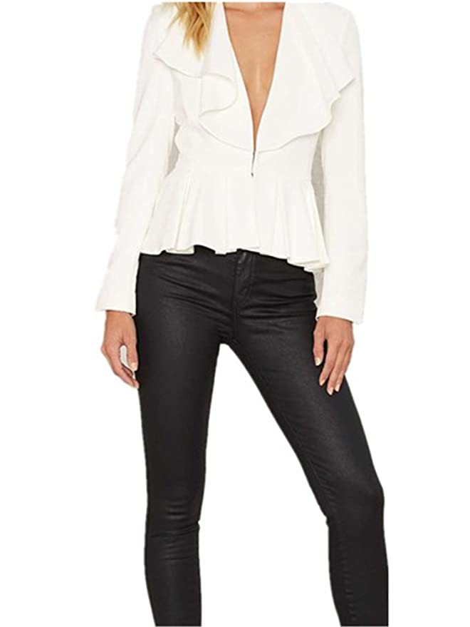 Amazon.com: Robin Santiago Otoño Mujer Coat Solid White ...