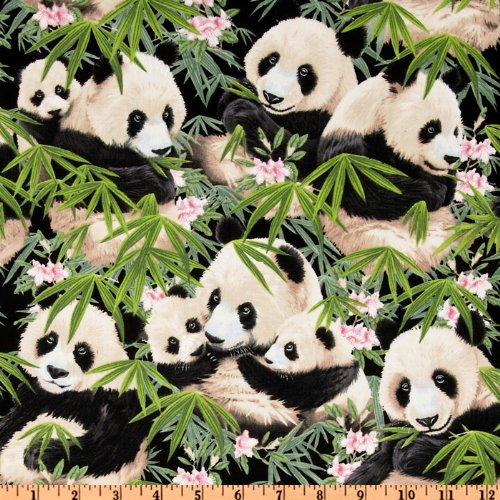 Panda Bears Black Fabric By The Yard - Panda Bear Fabric