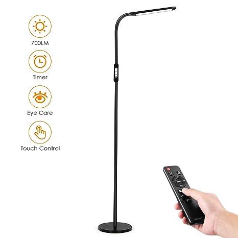 Albrillo LED Lámpara de Pie 8W - Luz de Lectura Moderna, con Control Táctil y Remoto, 5 Temperaturas de Color y 5 Brillos Ajustables, Temporizador y ...