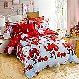 LOVE(TM)Home Textile Merry Christmas Red Father Christmas Santa Claus Prints 3d Bedding Set, 4pcs Bedding Set Queen Size Duvet Cover ,Bed Sheet ,Pillow Case