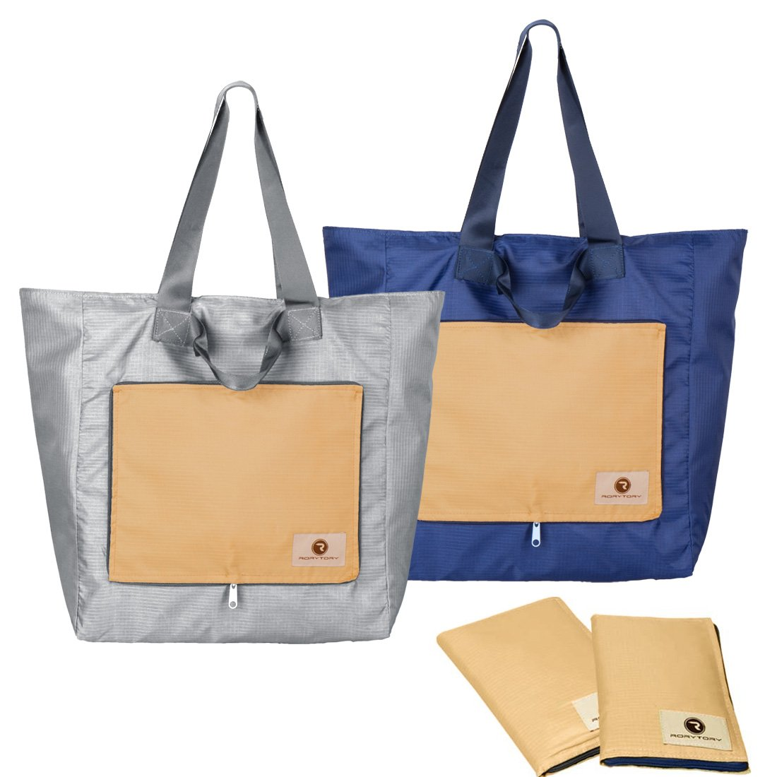6baba00c1a84 Amazon.com  RoryTory 2 pack Foldable Compact Nylon Shopping Travel Tote Bag  - Blue Gray  Shoes