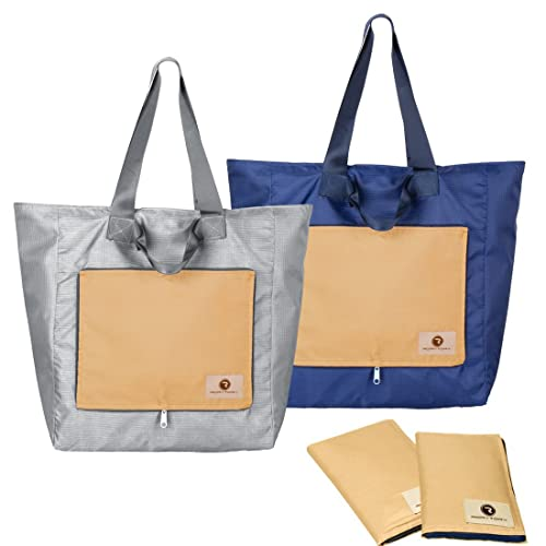 a5ba730d6d52 Amazon.com  RoryTory 2 pack Foldable Compact Nylon Shopping Travel Tote Bag  - Blue Gray  Shoes
