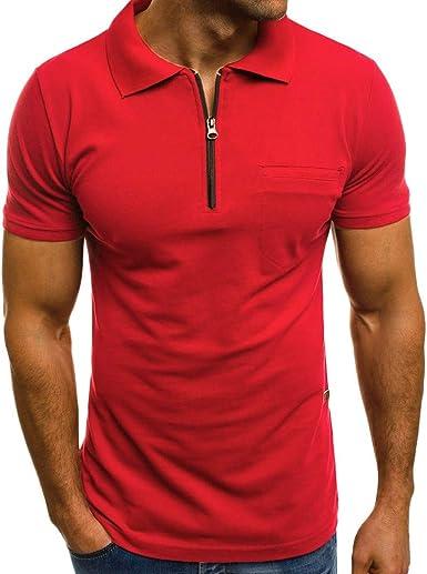 SamMoSon 2019 Casual Muscle Camiseta de Manga Corta para Hombre Casual Guapo con Cuello Color sólido Slim Fit Daily Shirts Top Blusa Party Beach Work Summer, Cheap Clearance!(Rojo, M): Amazon.es: Ropa y