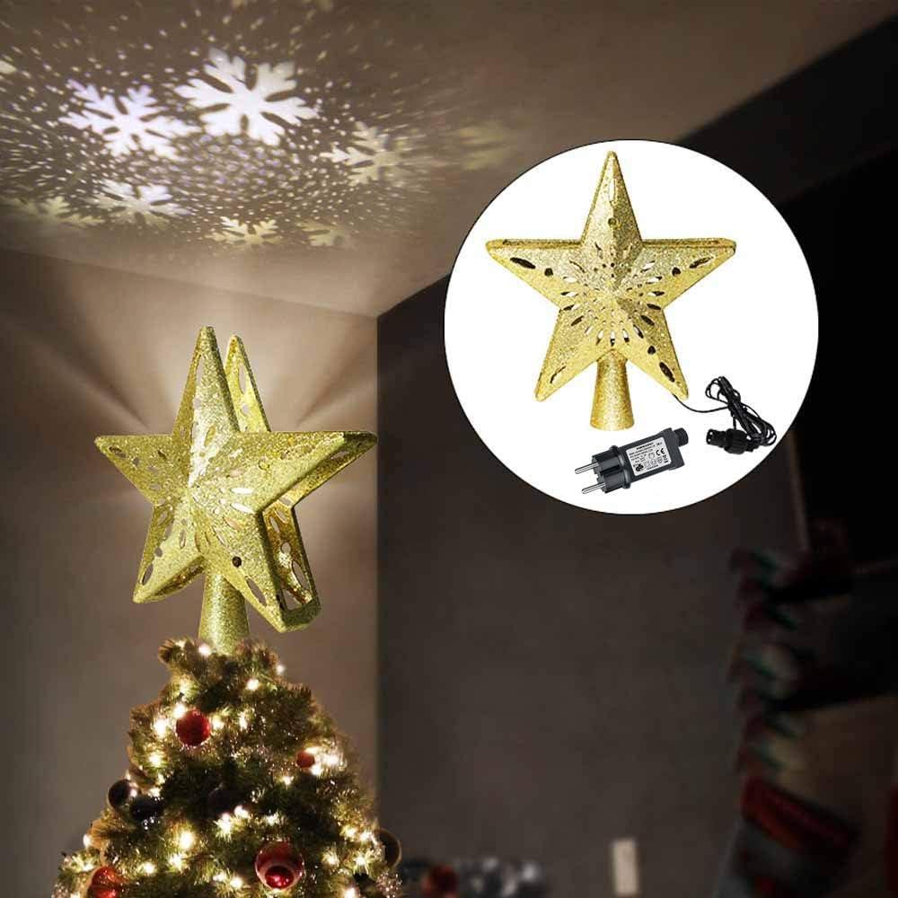 No/ël Star Tree Topper avec projecteur de flocon de neige LED int/égr/é Allume Lights Party Decoration Th/ème de No/ël paillettes plaqu/é pour les d/écorations de bureau ext/érieur int/érieur