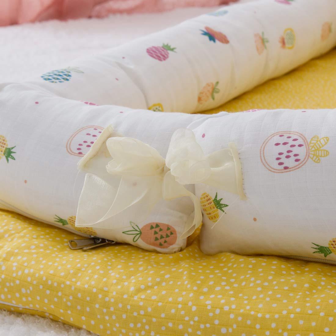 DorkasDE Babynest Kuschelnest Matratze im Bett Faltbett tragbar Babybett Reisebett mit Gaze Au/ßenmaterial
