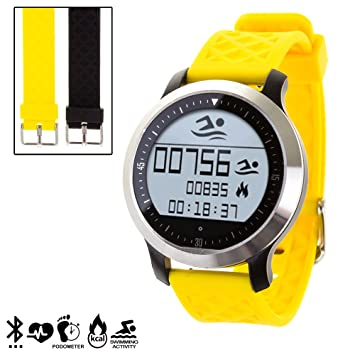 DAM - Smartwatch Sportswim F69 Con 2 Correas Intercambiables Amarillo. Compatible con Android e iOS. Sumergible. Incluye correas intercambiables en 2 ...