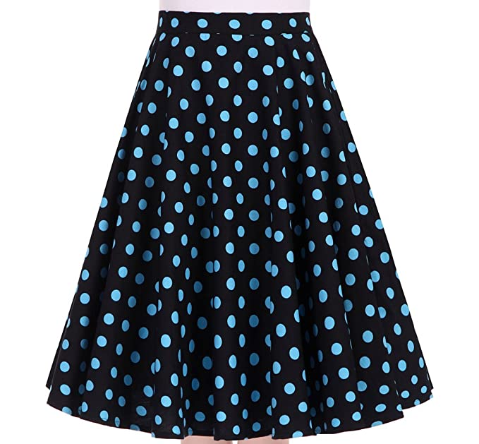c61934c649 Women's 50s Vintage Inspiration Polka Dot Floral Rockabilly Full Swing Skirt  (S (US4/