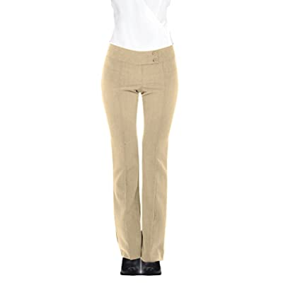 HOT FROM HOLLYWOOD Women's Fitted Career Double Waist Flared Leg Trousers Pants Creme Caramel: Clothing