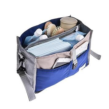 Bolso carrito bebe Accesorios para cochecito de bebé Bolsa para el carro de bebé Bolsa de nailon con cremallera Bolsa de viaje Azul 28 x 16.5 x 8.5cm