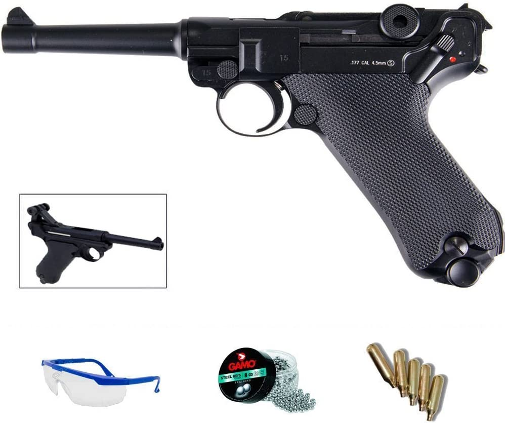 PACK pistola de aire comprimido répluca KWC P08 blowback (Luger 08) - Arma de CO2 y balines BBs (perdigones de acero) <3,5J