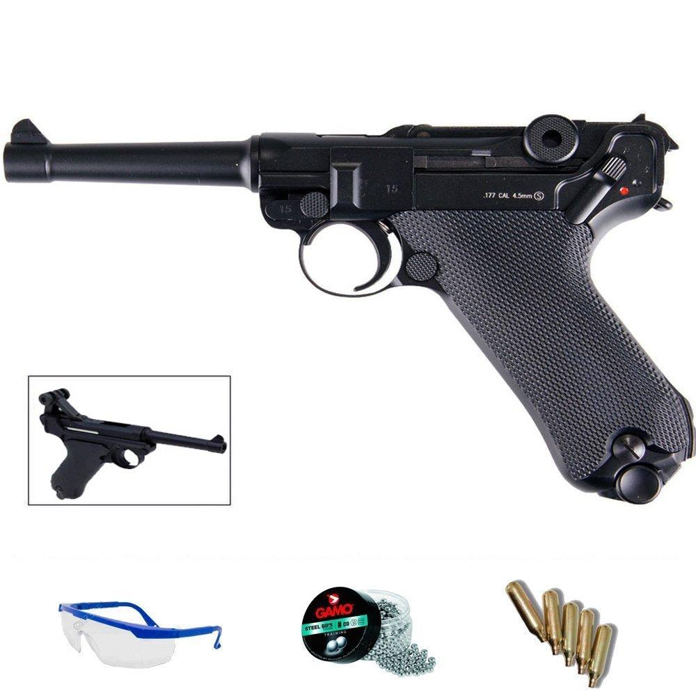 PACK pistola de aire comprimido répluca KWC P08 blowback (Luger 08) - Arma de CO2 y balines BBs (perdigones de acero) 5J