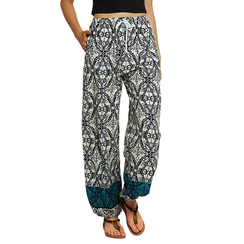 LOVELYOU Femme Yoga Pantalon Bloomers, Imprimé Bohême Lâche Poches Running Fitness Sport Plage Casual Doux Confortable Pants