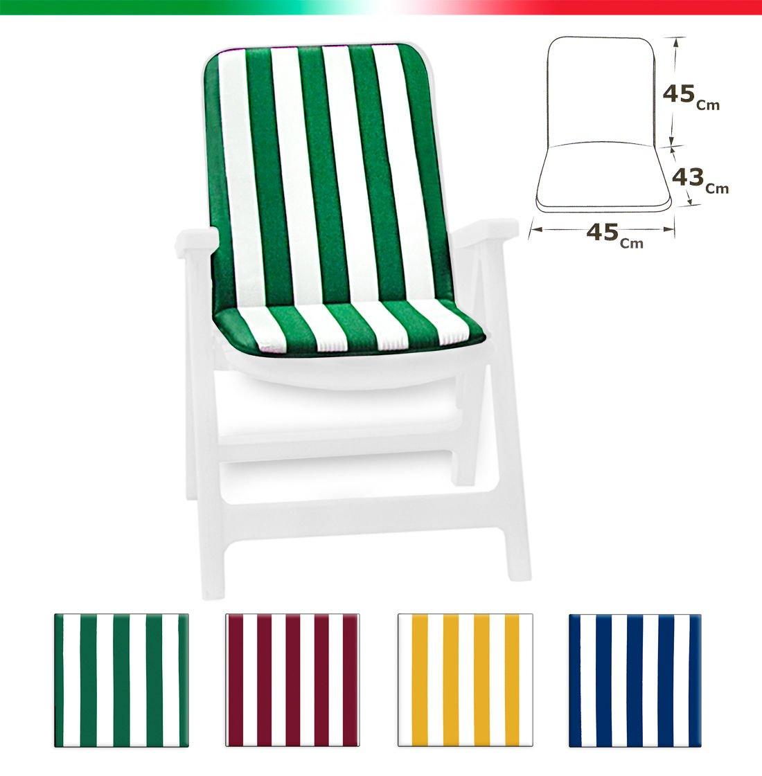 Cuscino copri sedia UNIVERSALE morbido a righe pieghevole tessuto cotone per piscina mare giardino mod.CAPRI FASCIATO VERDE EMMEVI