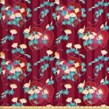 Lunarable Japanese Fabric by the Yard, Far East Asian Floral Arrangement Morning Glory Pattern with a Oriental Background, Decorative Fabric for Upholstery and Home Accents, Multicolor