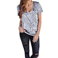 DaySeventh Womens Short Sleeve V Neck Tops Ladies Velvet Blouse T Shirt With Pocket