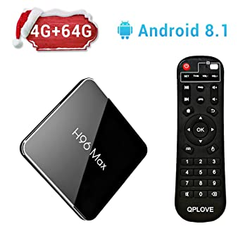 H96 Max Android 8.1 TV Box with Amlogic S905X2 Quad Core CPU,4GB RAM 64GB