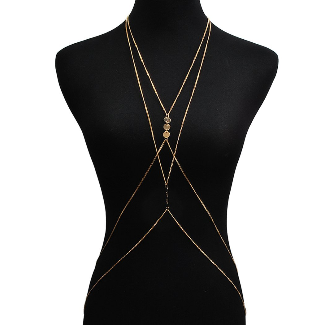 Jane Stone Sexy Crisscross Harness V Neckline Coin Link Body Chain Summer Beach Bikini Jewelry Women Golden Tone(Fn1689)