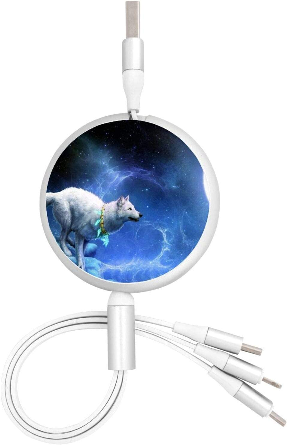3 in 1 Retractable USB Charger Cable Cord Wolf Under The Moon Fast Charging Washable USB Charge Cord Compatible with Cell Phones Tablets Universal Use