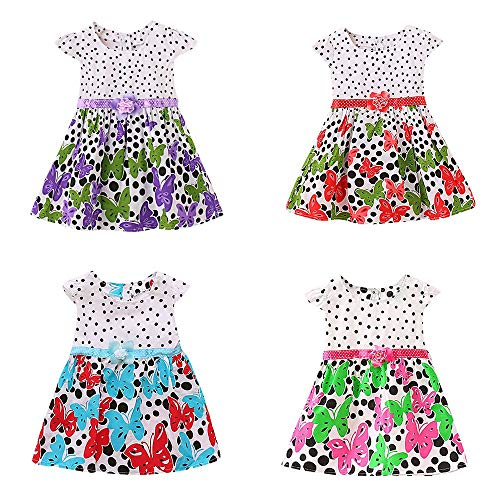 Newborn Toddler Baby Girls Dot Butterfly Print Flower CasualDress Clothes Purple by SERYU (Image #4)