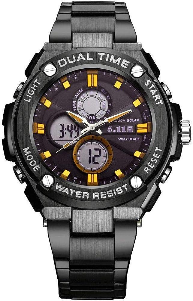 Montres Hommes,Jinggang Watchband Veilleuse Extérieure Imperméable Veilleuse Multifonctionnelle Black Steel Gold