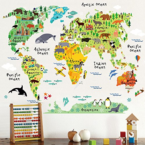 HomeEvolution-Large-Kids-Educational-AnimalFamous-Building-World-Map-Peel-Stick-Wall-Decals-Stickers-Home-Decor-Art