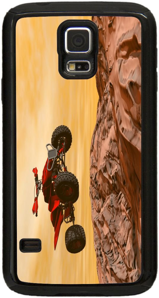 Rikki Knight Dirt Bikes Dessert Extreme Sport Design Black Galaxy S5 Tough-It Case Cover for Galaxy S5 (Double Layer case with Thick Front Bumper Protection) by Rikki Knight