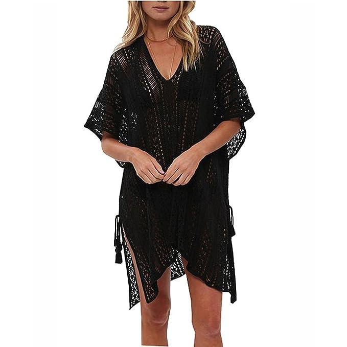 f1887a0e6f ZHCKyee Women's Fashion Bathing Suit Tunic Cover Up Beach Bikini Swimsuit  Swimwear Crochet Dress (Black
