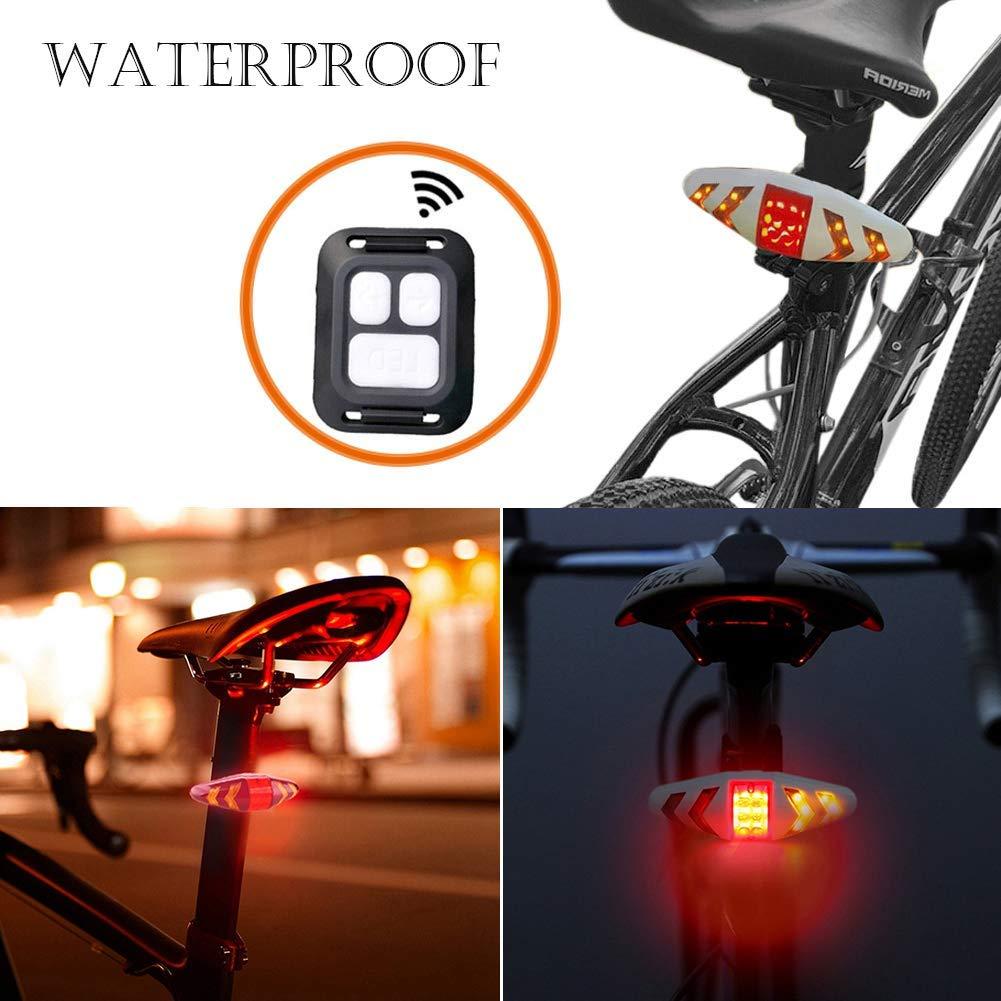 recargable luz de advertencia para bicicleta de monta/ña Luz trasera LED para bicicleta con mando a distancia inal/ámbrico multifuncional resistente al agua bicicleta de carretera SUNWAN