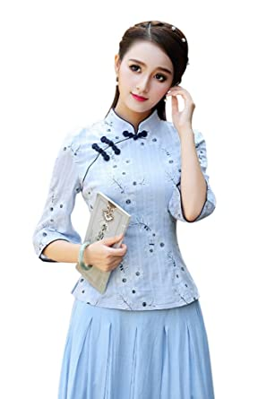 688c2d7d5 Seacolor Floral Print Vintage Women Girl Dress Traditional Chinese  Cheongsam Qipao Skirt and Top