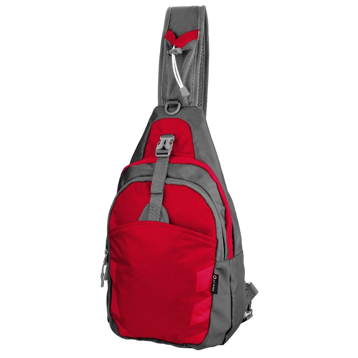 LC Prime Sling Bag Bag Chest Shoulder Unbalance Gym Fanny Backpack Sack Satchel Outdoor Bike nylon fabric red, by