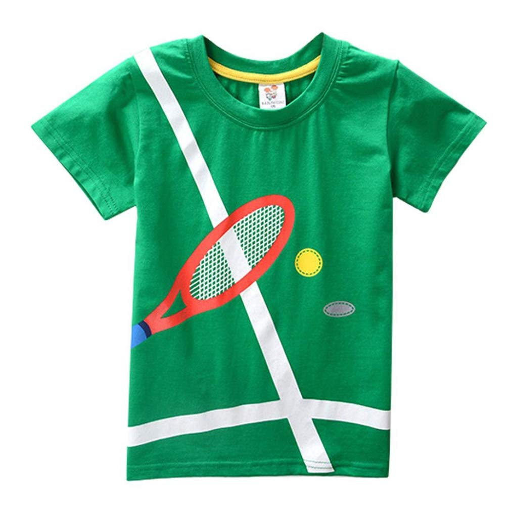 EISHOW 2-8Y Toddler Kids Baby Boys Summer T-Shirt Cotton Short Sleeve Bouse Basketball Soccer Funny Print Tops Clothes (Green, 6T)