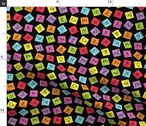 Periodic Table Fabric - Topsy Turvy (Black) Science Nerd Geek Chemistry Scientist Math Print on Fabric by The Yard - Sport Lycra for Swimwear Performance Leggings Apparel Fashion