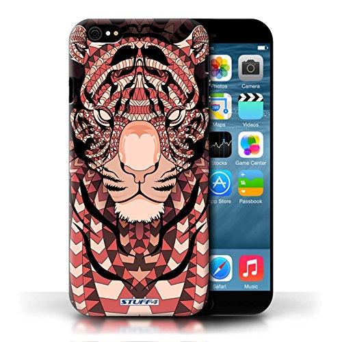 Etui / Coque pour Apple iPhone 6/6S / Tigre-Rouge conception / Collection de Motif Animaux Aztec