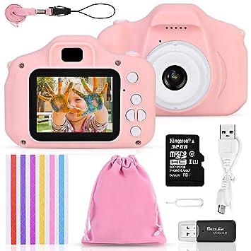 Faburo Set de Cámara de Fotos Digital para Niños, Cámara Infantil con Tarjeta de Memoria Micro SD, Cámara Digitale Selfie Video cámara Infantil para ...