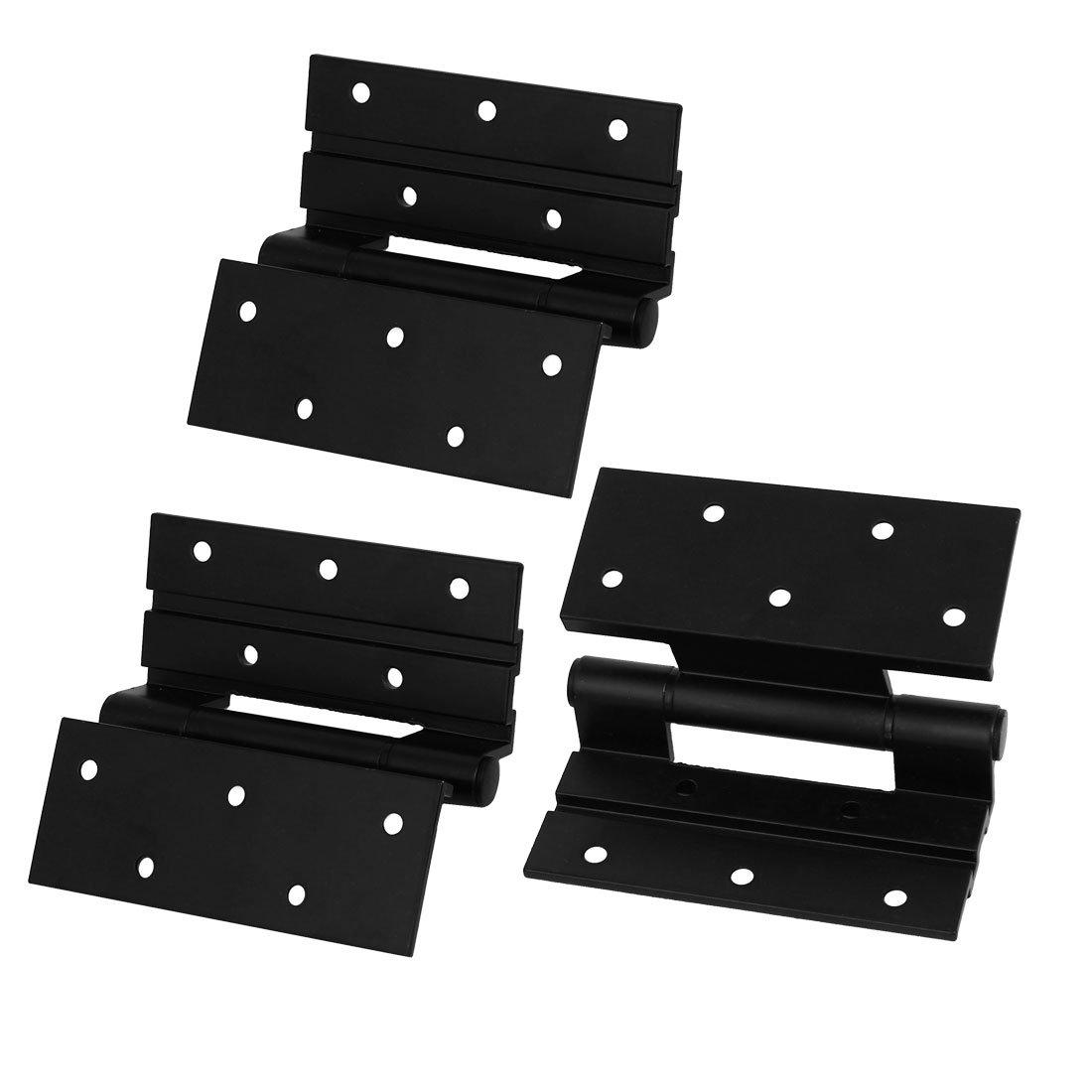 uxcell Window Door 4-inch Long Aluminum Alloy Screw Fixed Stormproof Butt Hinge Black 3pcs